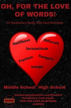 Vocabulary Task Cards - FOR THE LOVE OF WORDS!