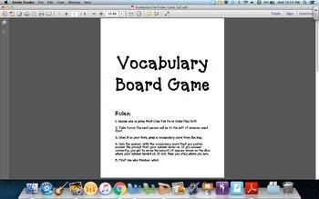 Vocabulary File Folder Game