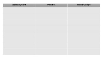 Vocabulary Fill-In Sheet