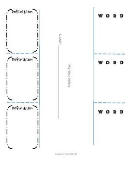 Vocabulary Flaps - Interactive Notebook