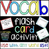 Vocabulary Flash Card Activity (for any word list)