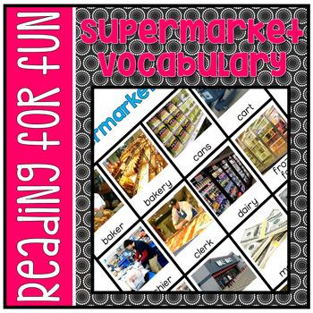 Vocabulary Flash Cards - Supermarket Theme L.K.6, L.1.6, L.2.6 NO PREP