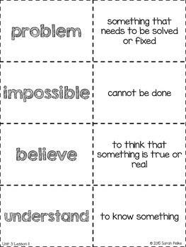 Vocabulary Flash Cards for Journey's Click, Clack, Moo