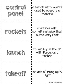 Vocabulary Flash Cards for Journey's Exploring Space Travel Unit 6 Extended Text