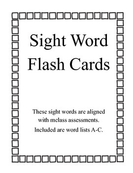 Sight Word Flash Cards - mclass and Reading 3D