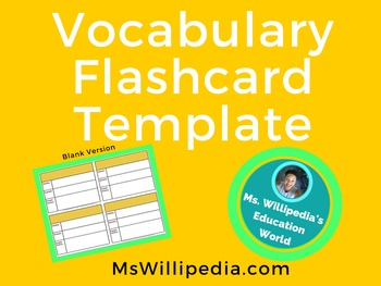 vocabulary flash card template