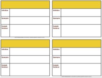 Vocabulary Flashcard Template