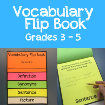 Vocabulary Flip Book -- Word Work for Literacy Centers, Grades 3 -5