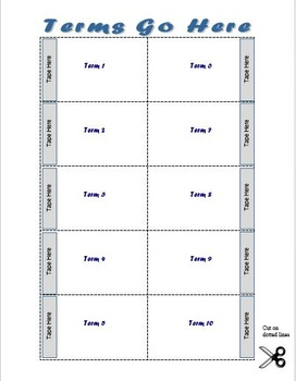 Vocabulary Flip Card Template