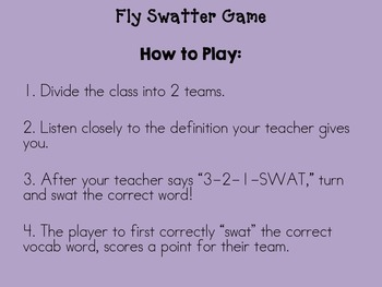 3rd Grade Reading Street Fly Swatter Game Unit 1