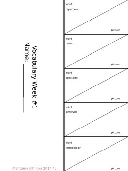Vocabulary Foldable Supplement (Weeks 1-15)