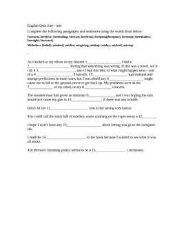 Vocabulary - Fore / Mis Worksheet or Quiz