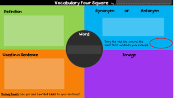 Vocabulary Four Square: FREE Google Classroom Template