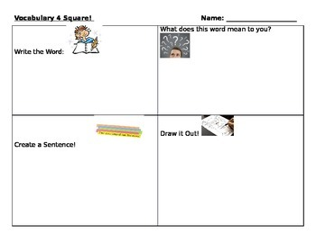 Vocabulary Four Square-Great for Special Education or ELL Learners