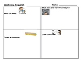 Vocabulary Four Square-Great for Special Education or ELL