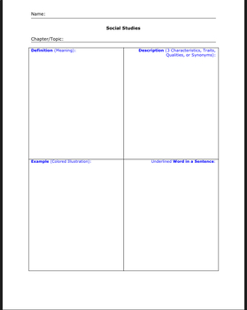 Vocabulary Four Squares for Multiple Subjects (+ rubrics!)