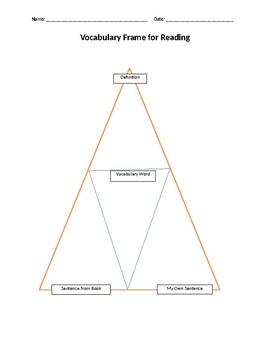 Vocabulary Frame for Reading