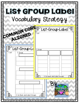 Vocabulary Freebie!  List-Group-Label Strategy Common Core Aligned