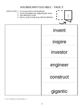 Vocabulary Freebie for Mr. Ferris and His Wheel