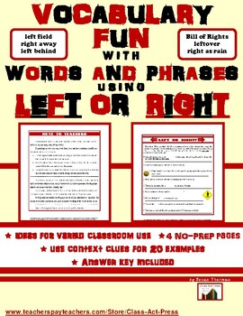 """Vocabulary Activities: Bell-Ringer with """"Left"""" and """"Right""""  (3 P., Ans. Key, $3)"""