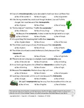 Vocabulary Activities: Learning Phobias Via Context Clues & Prefixes (5 p., $3)