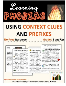 Vocabulary Activities: Worksheets to Learn Phobias Via Context Clues & Prefixes