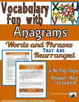 Vocabulary Activities Fun: Anagrams
