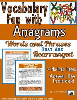 Vocabulary Fun: Anagrams (4 Pages, Answer Key Included, $3)