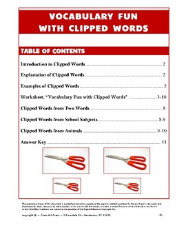 Vocabulary Activities: Clipped Words (Grades 6+, 10 P., Answer Key)