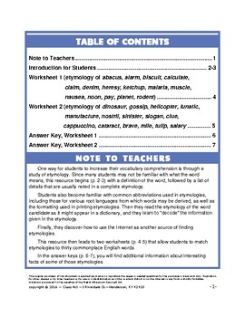 Vocabulary Activities: Etymology (Grades 8-11, 5 Pages, Answer Key Inc., $3)