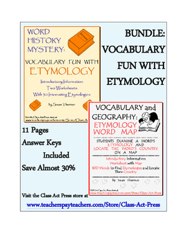Vocabulary Activities Bundle: Etymology (Grades 8-11, 11 Pages, Answer Keys, $5)