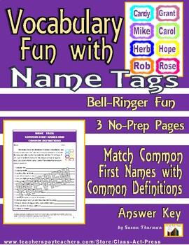 Vocabulary Activities: Fun with Names