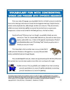 Vocabulary Activities: Fun with Opposites--Contronyms