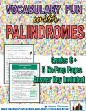 Vocabulary Activities: Palindromes (5 Pages, Ans. Key, Gr.