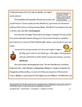 Vocabulary Activities: Portmanteaux (5 P., Answer Key, Gr. 8-11, $3)