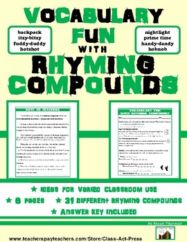Vocabulary Activities: Rhyming Compounds: Bell-Ringer Fun