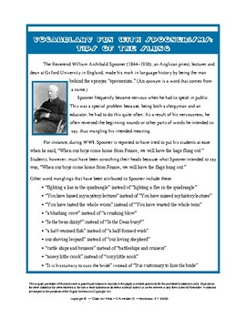 Vocabulary Activities: Spoonerisms: Tips of the Slung (4 P., Ans. Key, $3)