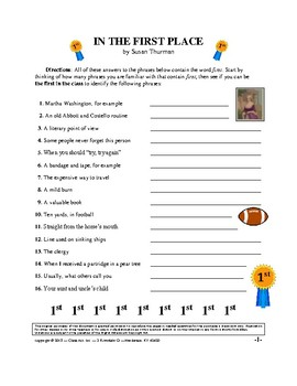 Vocabulary Activities: Fun with Words and Phrases Using FIRST