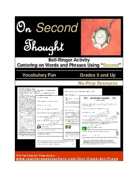 """Vocabulary Activities: Words and Phrases Using """"Second"""" (4"""