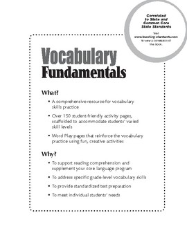 Vocabulary Fundamentals, Grade 1