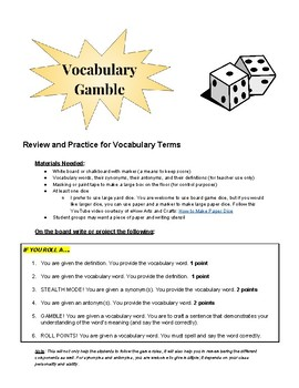 Vocabulary Gamble: Review and Practice for Vocabulary Terms