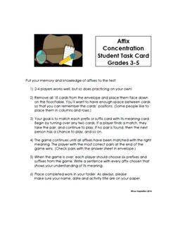 Vocabulary Game: Affix Concentration for Grades 3-5