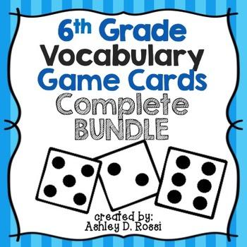 6th Grade Vocabulary Cards Bundle