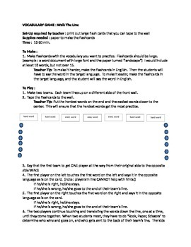 """Vocabulary Game : How to Play """"Walk the Line"""" with your students"""