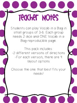 Vocabulary Game: Vocab in a Bag Reproducible