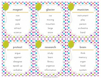 Vocabulary Game Word Cards