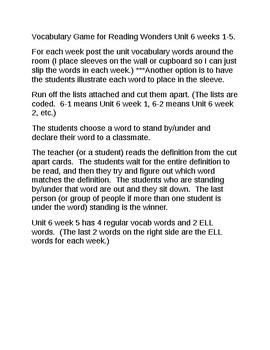 Vocabulary Game for Reading Wonders Grade 2 Unit 6