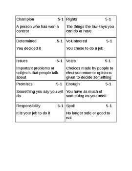 Vocabulary Game for Reading Wonders Grade 2 unit 5