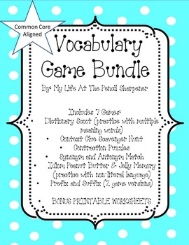 Vocabulary Games Bundle - Great Test Prep -7 Games and Bonus Worksheets
