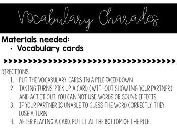Vocabulary Games and Activities - Editable